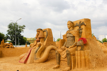 "KOLOMENSKOYE, MOSCOW, RUSSIA-JULY 10, 2011:""Masterpieces of Italian culture"" Exhibition of sand sculptures. Caesar and Cleopatra. Author Taflevskaya Irina, Ukraine and Ruslan Korovkov,  Bulgaria"