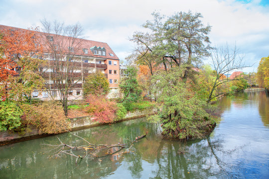 beautiful autumn scenery with islet on the Pegnitz river