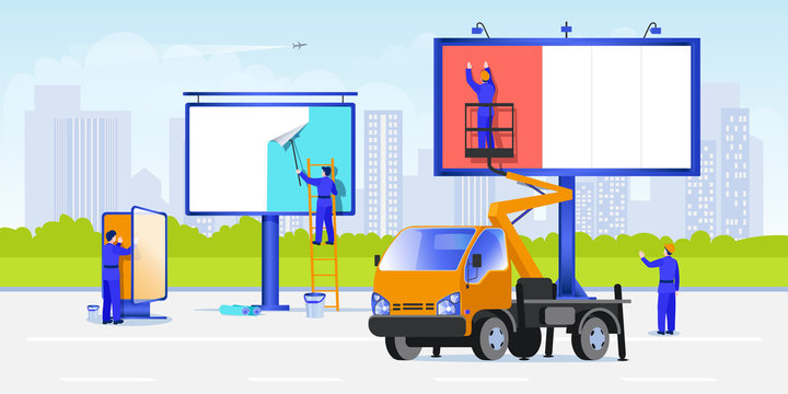Workers mount posters using stairs and aerial work platforms. Street advertising on a billboard. Vector illustration