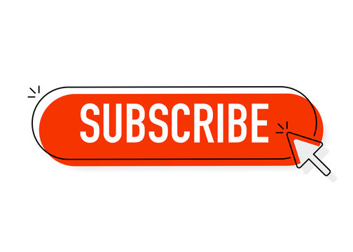 Red rounded subscribe button on white background
