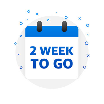 Two week to go offer. Calendar icon. Vector illustration.