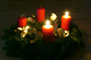Second Advent, Advent wreath with two burning candles, copy space