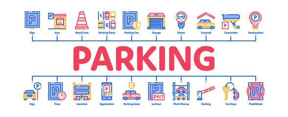 Parking Car Minimal Infographic Web Banner Vector. Garage And Parking Mark, Video Camera And Automatic Barrier, Vehicle And Key Concept Illustrations