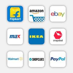 Set of popular icon for online shopping application, social network logos of snapdeal, shopclues, max, flipkart, amazon, ebay, ikea, paypal, walmart