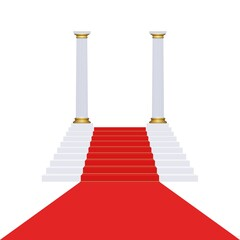 Climbing stairs with red carpet and marble columns on white background