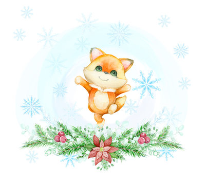 Fox runs on the background of snowflakes and blue background and fir twigs. Watercolor concept, on the winter theme. Children's greeting card for Christmas. On isolated background.