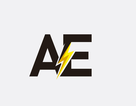 Flash A,E and AE Letter Logo Icon, Electrical Bolt With Initial AT Letter Logo Design.
