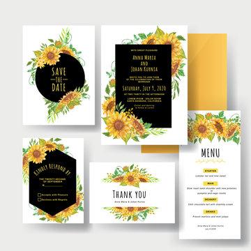 a set of beautiful yellow sunflower wedding invitations