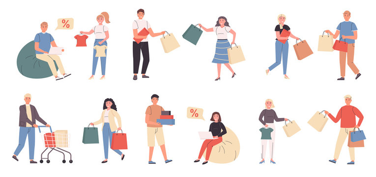 Shoppers, male and female customers flat vector illustrations set. Shopping, children clothes buying. People in clothing store cartoon characters bundle isolated on white background