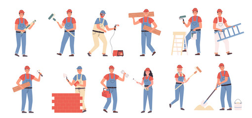 Builders and repair masters flat vector illustrations set. Construction and repair work, constructing and renovation. People with building tools cartoon characters bundle isolated on white background