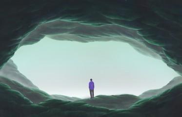 Keuken foto achterwand Grijze traf. Man alone in cave, lonely, depression, sad, surreal painting illustration, artwork