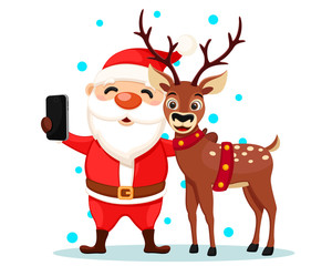 Santa Claus takes a selfie with a deer on his phone, characters on a white. Christmas