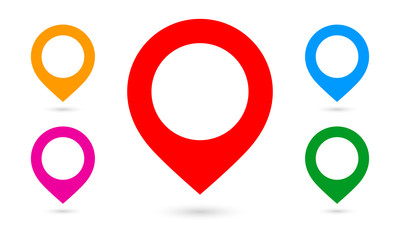 Map markers | fat design | icons set colored