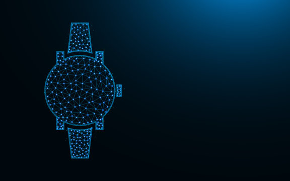 Wrist Watches low poly design, clock abstract geometric image, time wireframe mesh polygonal vector illustration made from points and lines on dark blue background