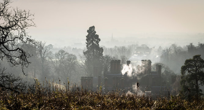 A misty winter morning over Stratford upon Avon from the Welcombe Hills