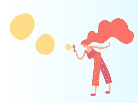 Vector illustration, trendy flat cartoon girl blowing bubbles. In warm colors, including coral (2019 trend color). Applicable as spring activities concept for posters, web banners etc.