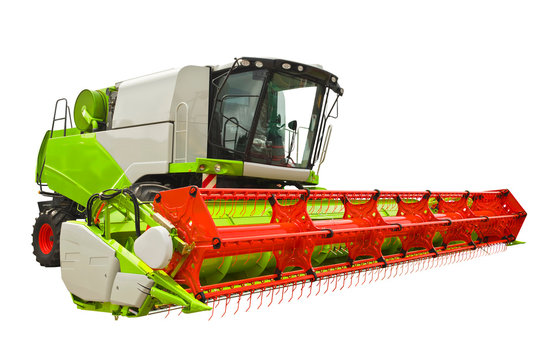 Modern agricultural combine isolated on a white background