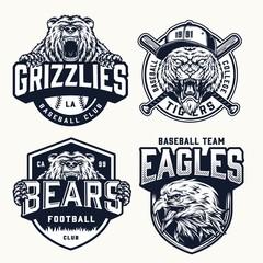 Vintage soccer and baseball clubs logos