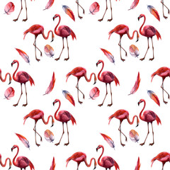 Canvas Prints Watercolor seamless pattern with flamingo hand drawing decorative background. Print for textile, cloth, wallpaper, scrapbooking