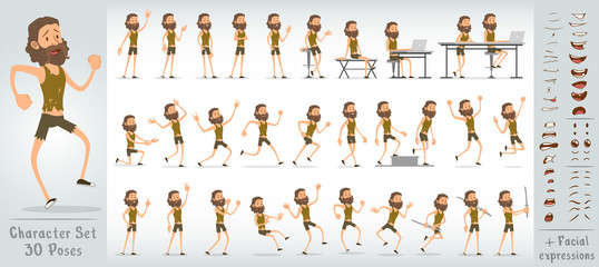Cartoon flat cute funny homeless boy character in ragged and dirty clothes with beard. 30 different poses and face expressions. Isolated on white background. Big vector icon set.