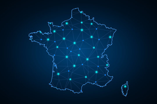 map of France. Wire frame 3D mesh polygonal network line, design sphere, dot and structure. Vector illustration eps 10. - Vector