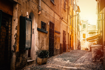 Narrow alley im old town Alghero