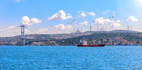 The Bosphorus strait, the bridge and the Asian coast of Istanbul