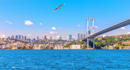 The Bosphorus Bridge and Besiktas with Ortakoy Mosque, Istanbul