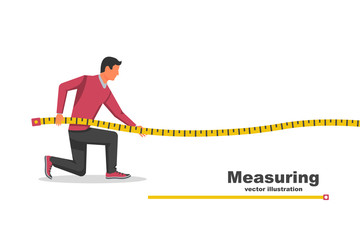 Measuring tape in the hands of the person making the measurements.Vector illustration flat design isolated on white background. Interior design concept