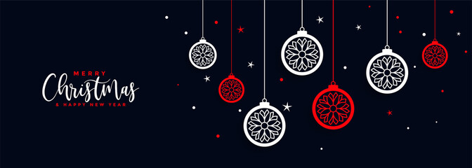 merry christmas ball decoration banner festival design
