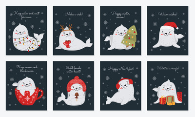 Creative postcard collection for Christmas and New Year with cute seals and winter slogan.