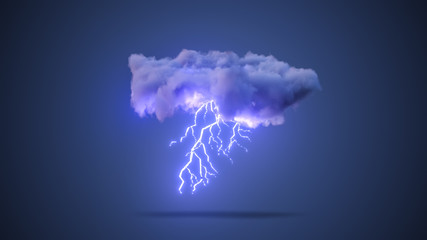 3D Realistic Render of a Cloud with Rain and Lightning Bolt