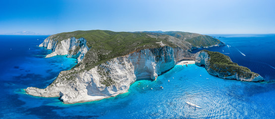 Printed roller blinds Northern Europe Aerial panorama drone shot of Zakynthos north end with Navagio beach and yachts in Ionian sea