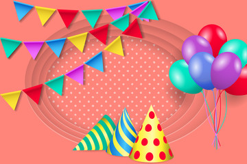 Birthday greeting card with party hats, bunting flags and balloons