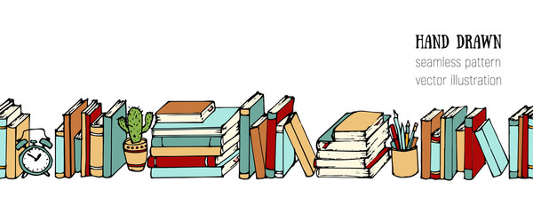 Hand drawn sketch horizontal vector pattern. School concept background. Books, Notebooks, Notepads and Diaries. Stack of books. Office stuff, student desk. Cartoon style illustration. Doodle elements