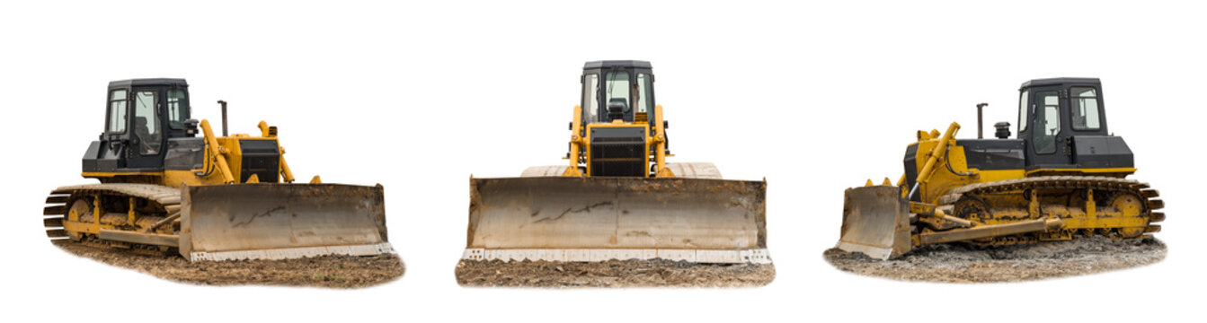 Modern excavator bulldozer with clipping path isolated on white background. Save work path