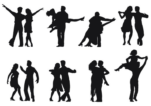 Vector silhouettes of couples dancing together.