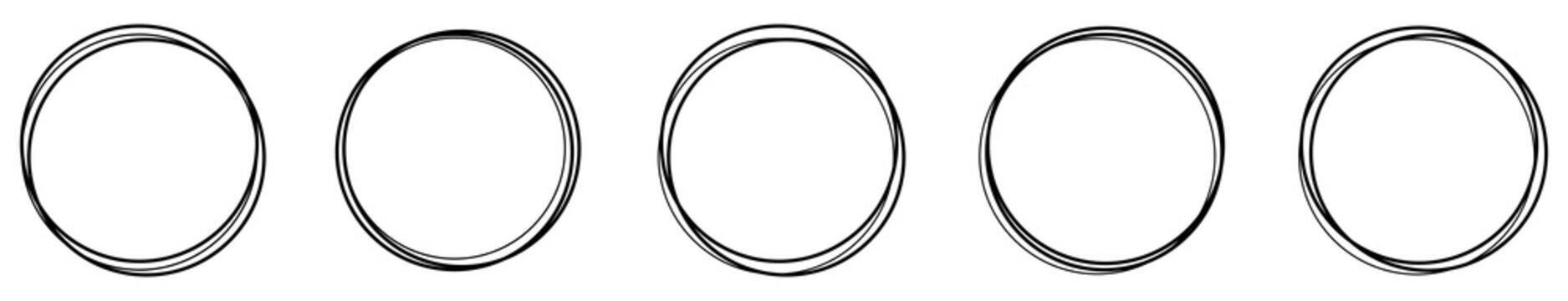 Circle line shape and border hand drawn. Vector