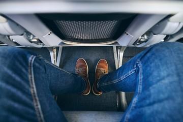 Legroom between seats in airplane