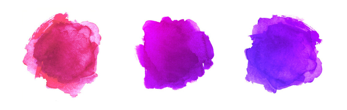 Abstract Painted Shapes Isolated on White Background. Purple Watercolor Vector Texture Set