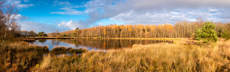 Peat lake in the Netherlands in autumn time ], beautiful blue sky and reflections in the water, picture taken in the province Drenthe nearby the village Steenbergen