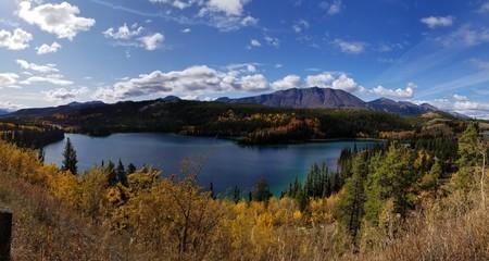 Beautiful emerald waters in canada mountains