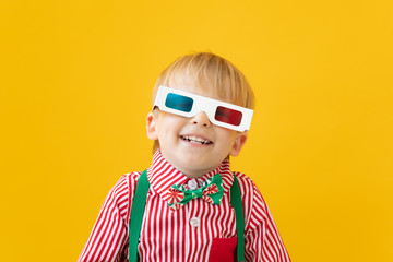 Happy child wearing 3d glasses