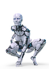 cyborg female is ready in a white background