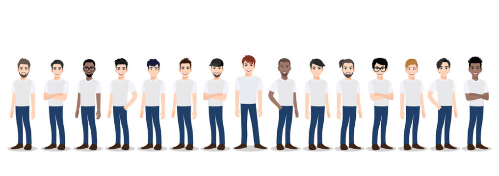 Cartoon character with the men team in T-shirt white and blue jean casual. Teamwork concept flat vector illustration.