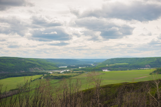 View of Peace River valley from the Peace River Lookout near Fort St. John
