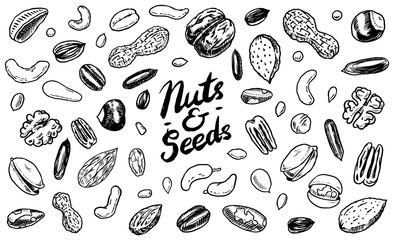 Nuts mix background. Seeds and granule, corn and grain. Hazelnut, Walnut, Almonds. Food concept. Top view. Vintage poster. Engraved hand drawn sketch. Set of doodle icons, signs in Monochrome style.