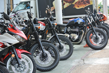 PORT DICKSON, MALAYSIA -SEPTEMBER 04, 2016: Group of big bike and superbike at the motorcycle parking lot.