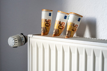 radiator with thermostat - concept image heating costs