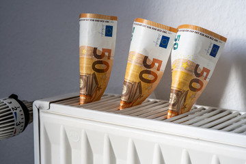 concept image heating costs - money in a radiator